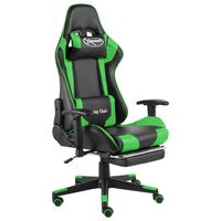 vidaXL Swivel Gaming Chair with Footrest Green PVC