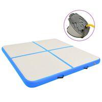 vidaXL Strunjača na napuhavanje s crpkom 200 x 200 x 20 cm PVC plava