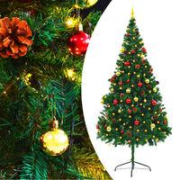 vidaXL Umjetno božićno drvce s kuglicama i LED žaruljicama 210 cm zeleno
