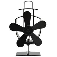 vidaXL Ventilator za peć na toplinski pogon s 5 lopatica crni