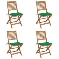 vidaXL Sklopive vrtne stolice s jastucima 4 kom od bagremovog drva