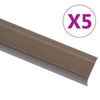 vidaXL Rubnjaci za stepenice L-oblika 5 kom aluminijski 100 cm smeđi