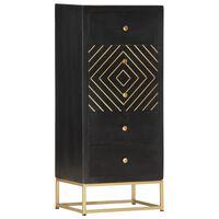 vidaXL Ladičar crno-zlatni 45 x 30 x 105 cm od masivnog drva manga