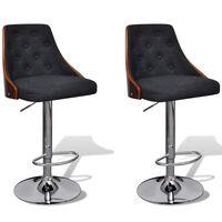vidaXL Barske stolice 2 kom od zaobljenog drva i tkanine