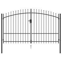 vidaXL Dvostruka vrata za ogradu sa šiljcima na vrhu 3 x 2 m crna
