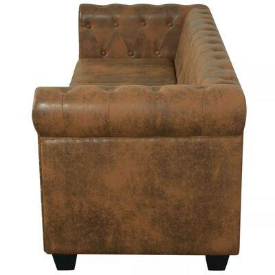 vidaXL Chesterfield Kauč Trosjed od Umjetne Kože Smeđi