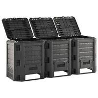 vidaXL Vrtni komposter crni 1200 L
