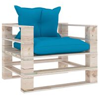 vidaXL Vrtna sofa od paleta od borovine s plavim jastucima