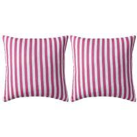 vidaXL Vrtni jastuci s prugastim uzorkom 2 kom 45 x 45 cm ružičasti