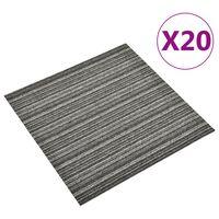 vidaXL Podne pločice s tepihom 20 kom 5 m² 50x50 cm prugaste antracit