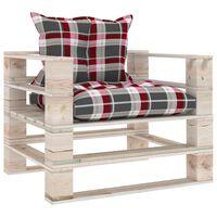 vidaXL Vrtna sofa od paleta od borovine s crvenim kariranim jastucima