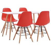 vidaXL 5 Piece Dining Set Plastic Red (248304+248272)