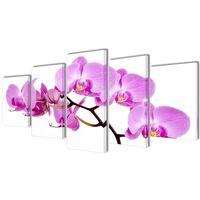 Zidne Slike na Platnu Set s Printom Orhideja 100 x 50 cm