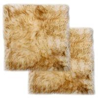 vidaXL Jastučići za stolice 2 kom smeđi prošarani 40x40 cm ovčja koža