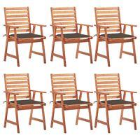 vidaXL Vrtne blagovaonske stolice s jastucima 6 kom od bagremovog drva