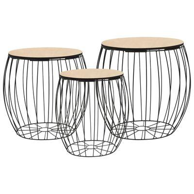 vidaXL Set od 3 stolića za kavu od jasenove iverice i čelika
