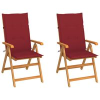 vidaXL Vrtne stolice s jastucima boje vina 2 kom od masivne tikovine
