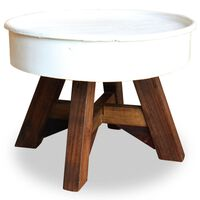 vidaXL Stolić za kavu od masivnog obnovljenog drva 60 x 45 cm bijeli