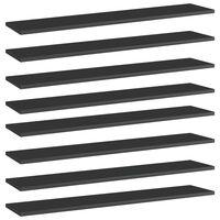 vidaXL Police za knjige 8 kom visoki sjaj crne 100x20x1,5 cm iverica