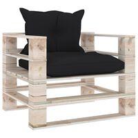 vidaXL Vrtna sofa od paleta od borovine s crnim jastucima