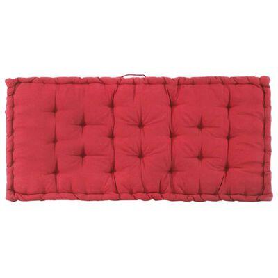 vidaXL Paletni podni jastuk pamučni 120 x 80 x 10 cm bordo