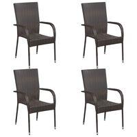 vidaXL Složive vrtne stolice 4 kom od poliratana smeđe