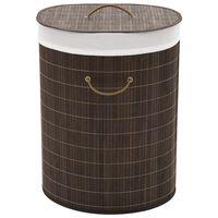 vidaXL Košara za rublje od bambusa ovalna tamnosmeđa