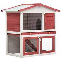 vidaXL Vanjska kućica za zečeve s 3 vrata crvena drvena