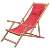 vidaXL Sklopiva ležaljka za plažu od tkanine s drvenim okvirom crvena