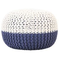 vidaXL Ručno pleteni tabure plavo-bijeli 50 x 35 cm pamučni