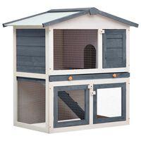 vidaXL Vanjska kućica za zečeve s 3 vrata siva drvena