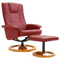 vidaXL Okretna TV fotelja s osloncem za noge od umjetne kože boja vina