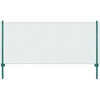 vidaXL Ograda od žičane mreže sa stupovima čelična 25 x 0,5 m zelena