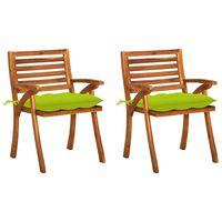 vidaXL Vrtne blagovaonske stolice s jastucima 2 kom od bagremovog drva