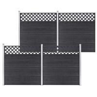 vidaXL Set ograda od WPC-a 4 kvadrata 699 x 185 cm sivi