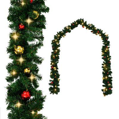vidaXL Božićna girlanda ukrašena kuglicama i LED žaruljama 5 m