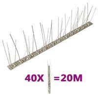 vidaXL Set od 40 šiljaka u 5 redova protiv ptica i golubova 20 m