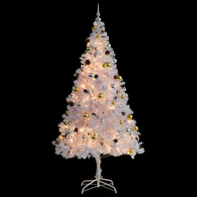 vidaXL Umjetno božićno drvce s kuglicama i LED žaruljicama 210 cm bijelo