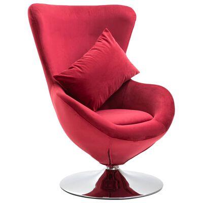 vidaXL Okretna jajolika stolica s jastukom crvena baršunasta