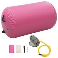 vidaXL Gimnastički valjak na napuhavanje s crpkom 100x60 cm PVC rozi