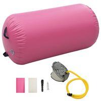 vidaXL Gimnastički valjak na napuhavanje s crpkom 120x90 cm PVC rozi