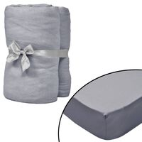 vidaXL Fitted Sheets for Waterbeds 2pcs 200x200 cm Cotton Jersey Grey