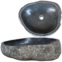 vidaXL Ovalni umivaonik od  riječnog kamena 30-37 cm