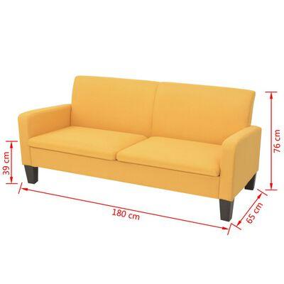 vidaXL Kauč trosjed 180x65x76 cm žuti