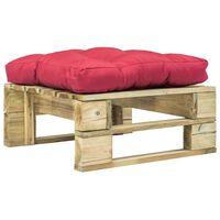 vidaXL Vrtni tabure od paleta s crvenim jastukom zeleni drveni