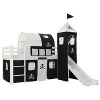vidaXL Dječji krevet na kat s toboganom i ljestvama borovina 97x208 cm