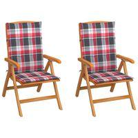 vidaXL Vrtne stolice s crvenim kariranim jastucima 2 kom od tikovine