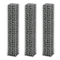 vidaXL Set gabiona 3 kom od pocinčane žice 25 x 25 x 150 cm