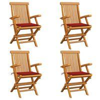 vidaXL Vrtne stolice s crvenim jastucima 4 kom od masivne tikovine