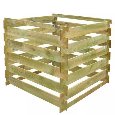 vidaXL Rešetkasta kanta za kompost 0,54 m3 četvrtasta drvena